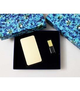 ست هدیه پاوربانک استیل+فلش مموری