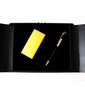 ست هدیه پاوربانک استیل+خودکار فلزی