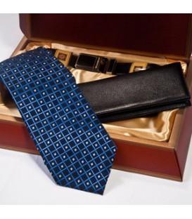 ست چرمی مردانه (کیف و کراوات و کمربند) مشکی