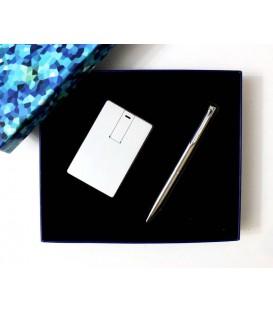 ست هدیه خودکار+فلش کارتی فلزی